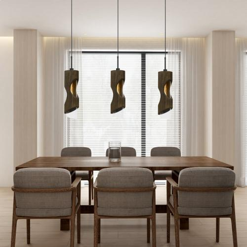 60W Zamora Wood Pendant With Clear Glass Shade (Edison Bulb Not included)