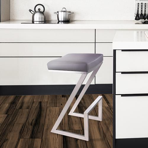 """Armen Living - Armen Living Atlantis 26"""" Backless Barstool in Brushed Stainless Steel finish with Gray Pu upholstery"""