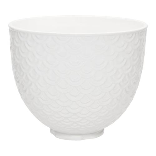 5 Quart White Mermaid Lace Ceramic Bowl - undefined
