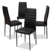 View Product - Baxton Studio Armand Modern and Contemporary Black Faux Leather Upholstered Dining Chair (Set of 4)