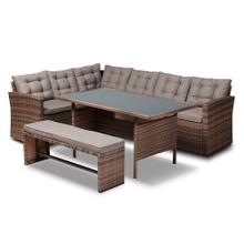 See Details - Baxton Studio Angela Modern and Contemporary Grey Fabric Upholstered and Brown Finished 4-Piece Woven Rattan Outdoor Patio Set