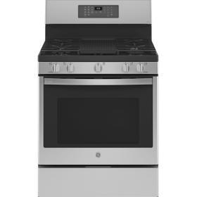 "GE Profile™ 30"" Free-Standing Self Clean Dual-Fuel Fingerprint Resistant Range with Storage Drawer"