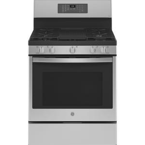 "GE ProfileGE Profile™ 30"" Free-Standing Self Clean Dual-Fuel Fingerprint Resistant Range with Storage Drawer"