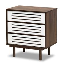 Baxton Studio Meike Mid-Century Modern Two-Tone Walnut Brown and White Finished Wood 3-Drawer Nightstand