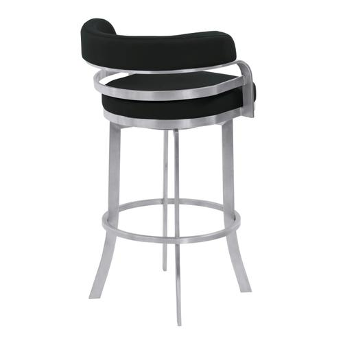 """Armen Living - Armen Living Prinz 30"""" Bar Height Metal Swivel Barstool in Black Faux Leather with Brushed Stainless Steel Finish"""