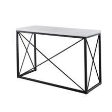 "See Details - Skyler WhiteMarble TopRectangle Sofa Table Black 48x18x30"""