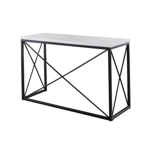 "Steve Silver Co. - Skyler WhiteMarble TopRectangle Sofa Table Black 48x18x30"""