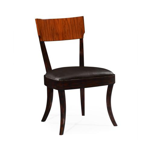 Art Deco Satin Rosewood Dining Side Chair, Upholstered in Dark Chocolate Leather