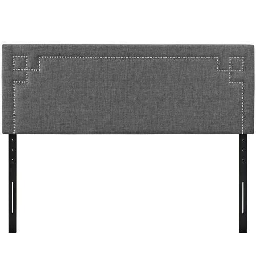 Josie King Upholstered Fabric Headboard in Gray