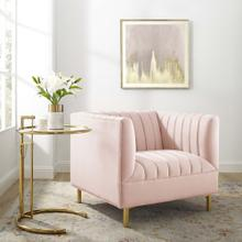 Shift Channel Tufted Performance Velvet Armchair in Pink