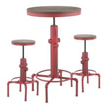 See Details - Hydra Bar Set - Vintage Red Metal, Brown Bamboo