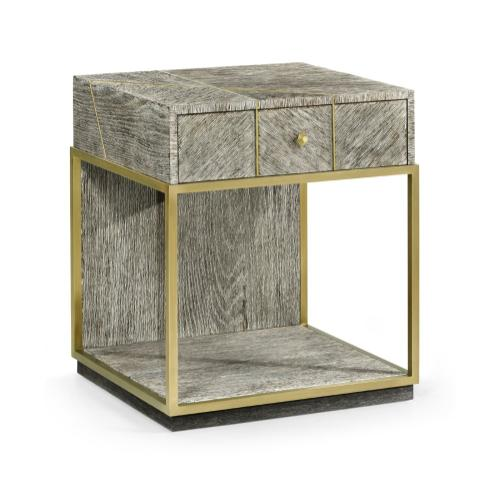 Geometric Dark French Oak Bedside Table