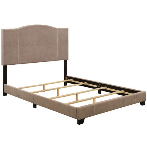 King All-In-One Modified Camel Back Upholstered Bed in Denim Sand