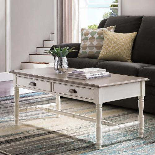 Toscana Two Drawer Coffee Table with Wood Cup Pull #11704