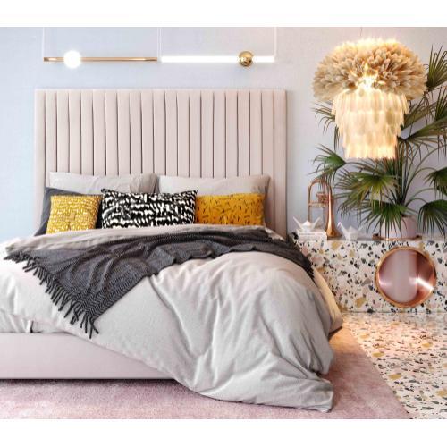 Arabelle Blush Velvet Bed in Queen