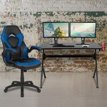 Black Gaming Desk and Blue and Black Racing Chair Set with Cup Holder, Headphone Hook & 2 Wire Management Holes