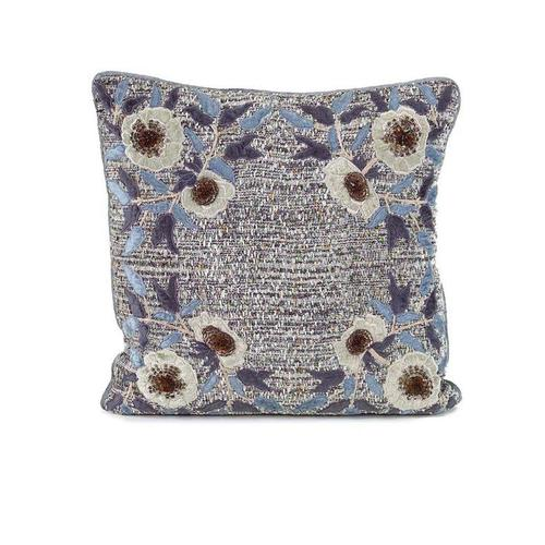 Blue and Grey Twill Pillow with Floral Applique