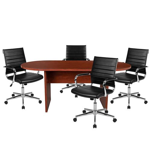 Gallery - 5 Piece Cherry Oval Conference Table Set with 4 Black LeatherSoft Ribbed Executive Chairs