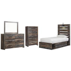 Twin Panel Bed With 4 Storage Drawers With Mirrored Dresser and Chest