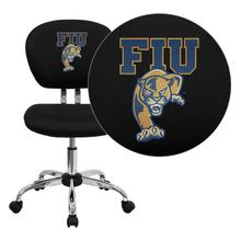 Florida International University Golden Panthers Embroidered Black Mesh Task Chair with Chrome Base