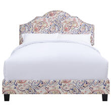 All-in-One Shaped Fully Upholstered Paisley Queen Bed with Nail head Trim