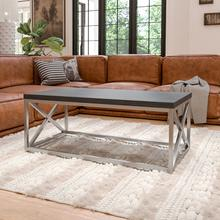 See Details - Park Ridge Black Coffee Table with Silver Finish Frame