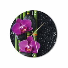 Orchids and Bamboo Round Square Acrylic Wall Clock