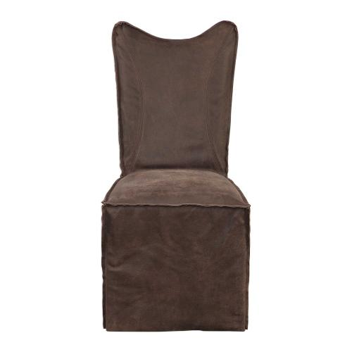 Delroy Armless Chair, Chocolate, 2 Per Box