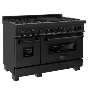 """Zline KitchenZLINE 48"""" Black Stainless 6.0 cu.ft. 7 Gas Burner/Electric Oven Range (RAB-48)"""