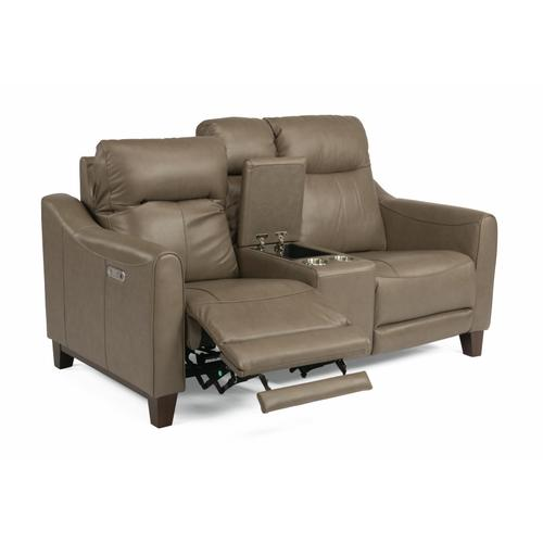 Flexsteel - Forte Power Reclining Loveseat with Console and Power Headrests