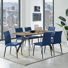 Andes and Lyon Blue Fabric 7 Piece Rectangular Dining Set
