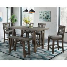 Cash Counter Dining Set - Counter Table, Bench, and 4 Barstools