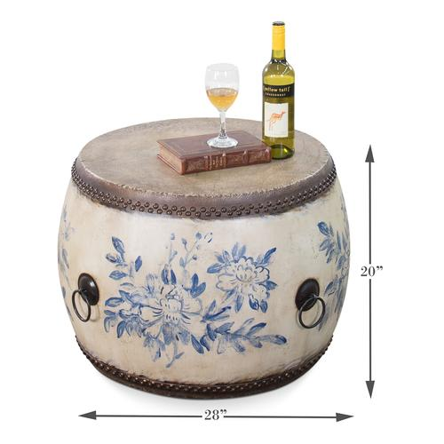 Drum Table With Antiqued Hand Designs