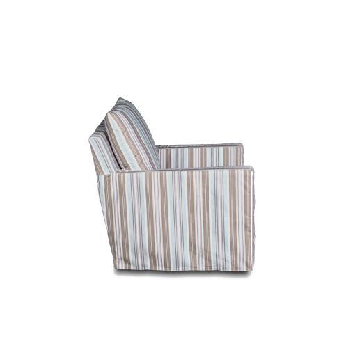 Slipcovered Swivel Chair w/Box Cushion & Track Arm - Seaside Blue Striped