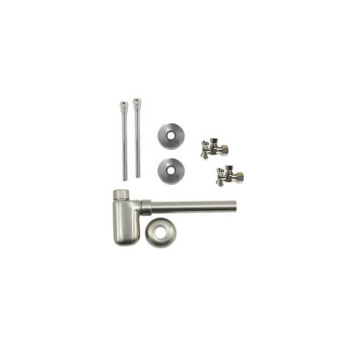 """Lavatory Supply Kit w/ Decorative Trap - Angle - Mini Cross Handle - 1/2"""" Compression (5/8"""" O.D.) Inlet x 3/8"""" O.D. Compression Outlet - Antique Brass"""