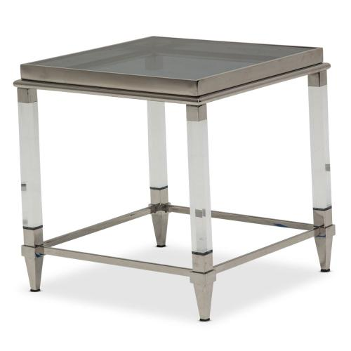 End Table W/smoked Nickel Glass Top