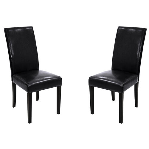 Armen Living - Black Bonded Leather Side Chair Md-014 (Set Of 2)