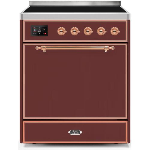 Majestic II 30 Inch Electric Freestanding Range in Burgundy with Copper Trim