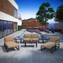 Fortuna 9 Piece Outdoor Patio Sectional Sofa Set in Brown Mocha