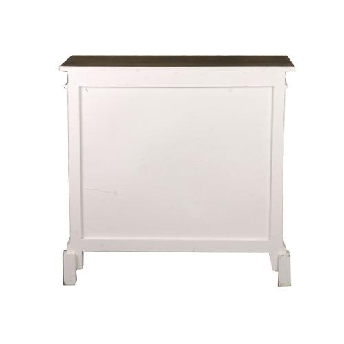 Lattice Cabinet - Distressed White and Mahogany Top