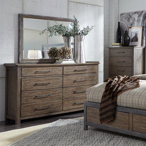 Queen Canopy Bed, Dresser & Mirror, Night Stand