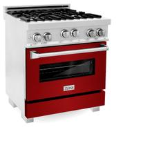 ZLINE 30 in. Professional 4.0 cu. ft. 4 Gas on Gas Range in DuraSnow® Stainless Steel with Red Gloss Door (RGS-RG-30)