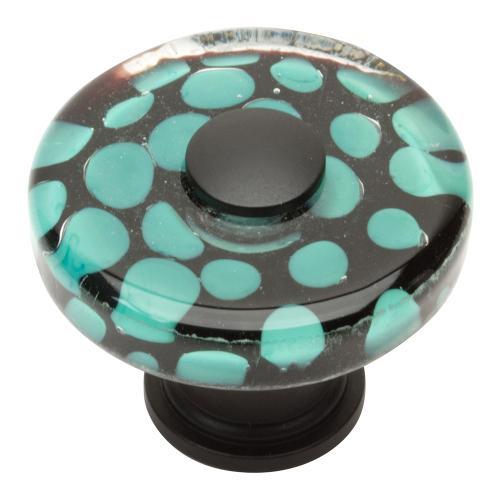 Emerald Polka Dot Glass Knob 1 1/2 Inch - Matte Black