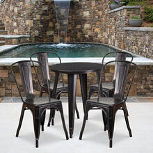 "Commercial Grade 24"" Round Black-Antique Gold Metal Indoor-Outdoor Table Set with 4 Cafe Chairs"