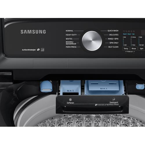 Samsung - 5.0 cu. ft. Capacity Top Load Washer with Active WaterJet in Brushed Black