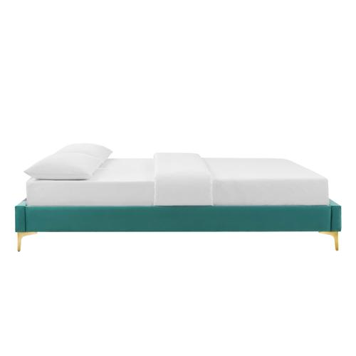 Sutton Twin Performance Velvet Bed Frame in Teal