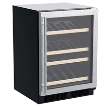 See Details - 24-In Built-In High-Efficiency Single Zone Gallery Display Wine Refrigerator with Door Style - Stainless Steel Frame Glass