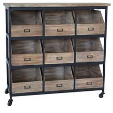 Industria Metal and Wood 9 Open Drawer Storage Chest