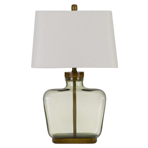 Irvington Glass Table Lamp With Mdf Base And Rectangular Fabric Shade