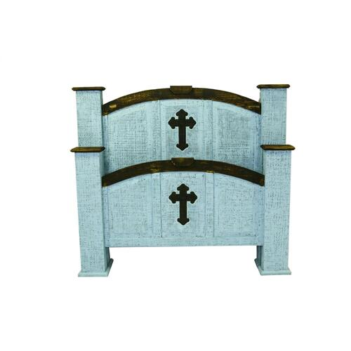King Turquoise Cross Mansion Bed
